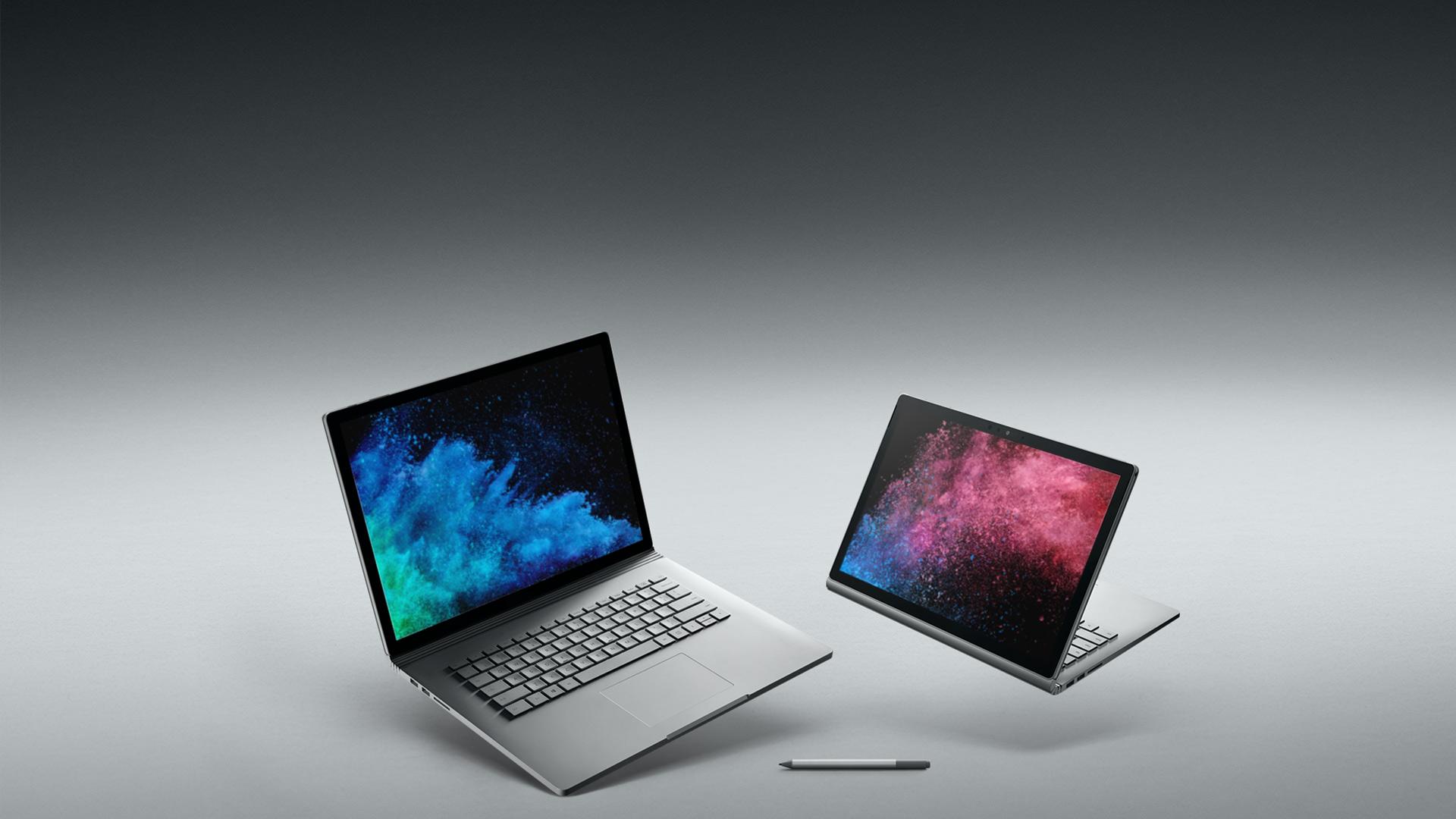 جهاز Surface Book 2 بحجم 15 بوصة، وجهاز Surface Book 2