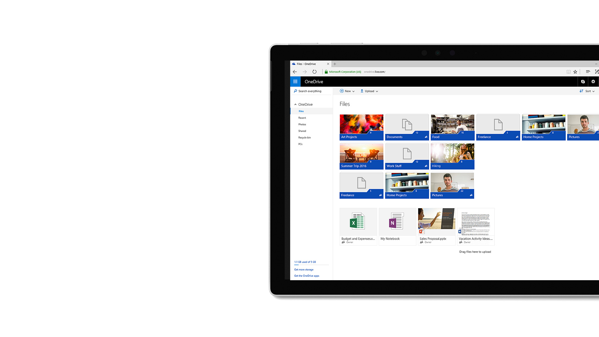 صورة واجهة المستخدم في Microsoft OneDrive