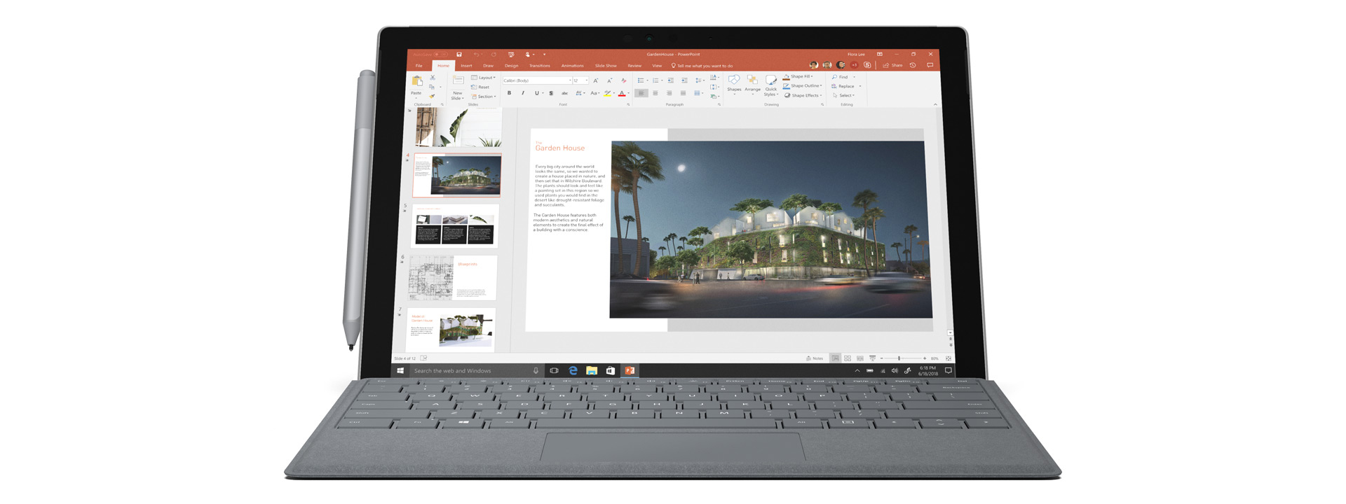 Surface Pro مع لوحة مفاتيحSurface Pro Signature Type Cover وقلم Surface Pen، أداة