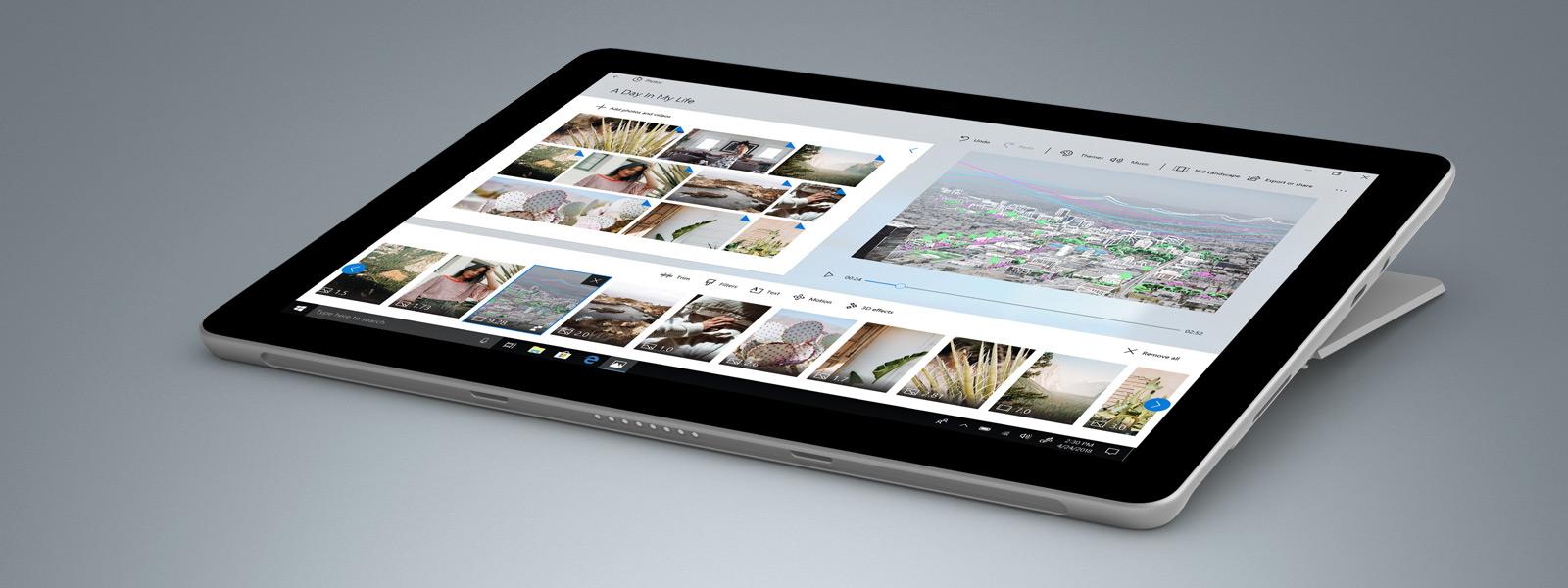 جهاز Surface Go وعليه تطبيق الصور