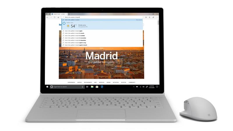لقطة شاشة من تطبيق Microsoft edge على جهاز Surface.