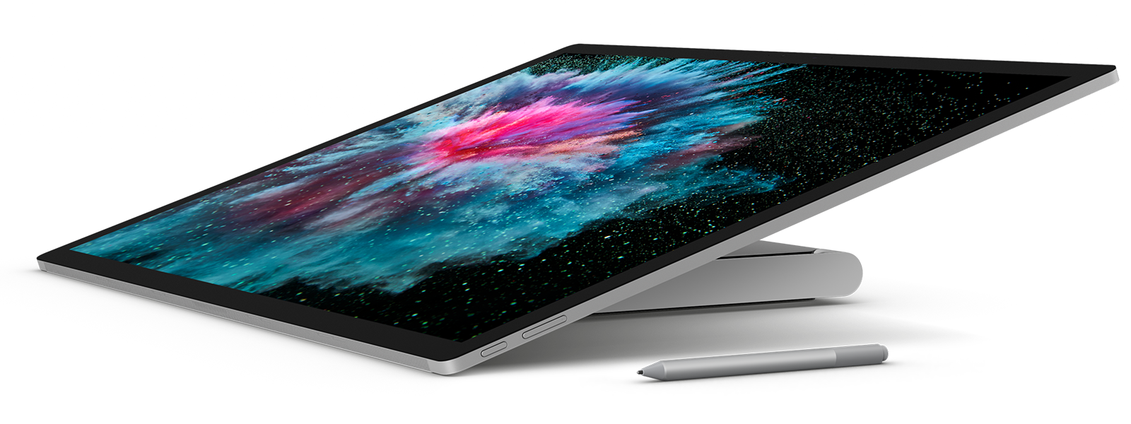 شكل جانبي لـ Surface Studio 2 في وضع Studio مع قلم Surface Pen