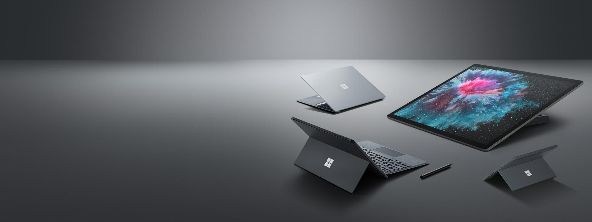 Surface Laptop 2، Surface Pro 6، Surface Go، Surface Studio 2