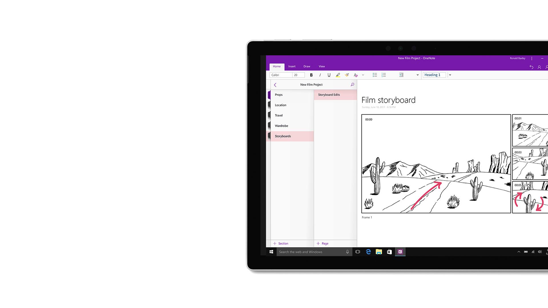صورة واجهة المستخدم في Microsoft OneNote