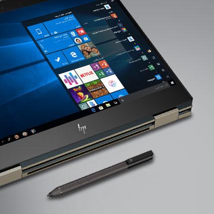 جهاز كمبيوتر يعمل بنظام Windows 10 مزود بقلم رقمي