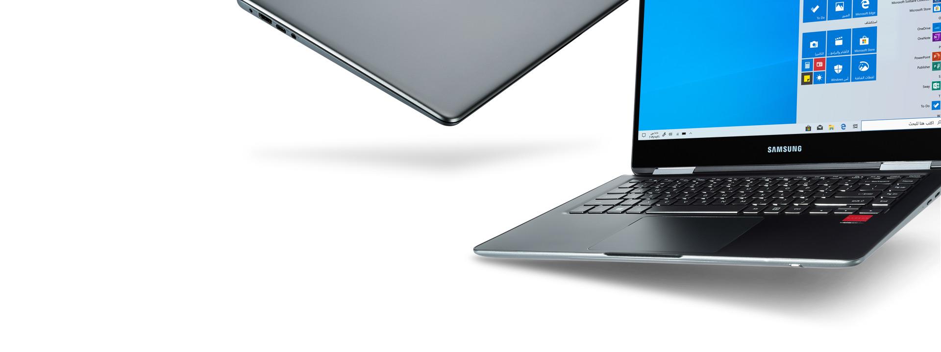 جهازا كمبيوتر Windows 10 جنبًا إلى جنب. أحدهما مغلق تمامًا والآخر يعرض شاشه البداية لنظام Windows 10