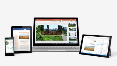 عرض تقديمي لـ PowerPoint على كمبيوتر لوحي Surface وكمبيوتر محمول بنظام Windows وiPad وهاتف Windows