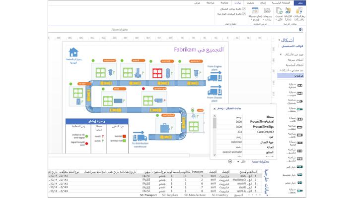 صورة مقرّبة لرسم تخطيطي مرتبط بالبيانات في Visio يتضمن جدول بيانات و «بيانات الشكل»