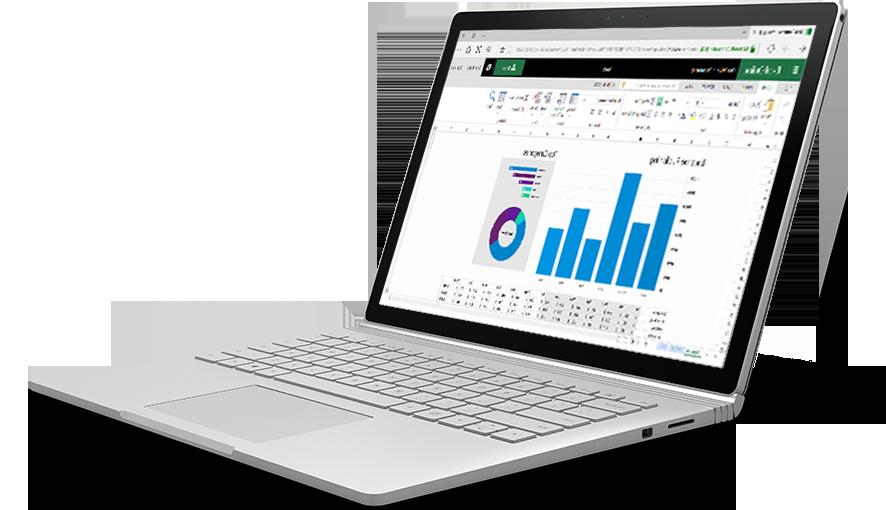 كمبيوتر محمول يعرض مخططات ورسومات ملونة في Excel Online.