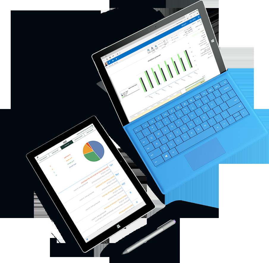 جهازا كمبيوتر Microsoft Surface اللوحي مع عدة مخططات ورسومات بيانية تظهر على الشاشتين