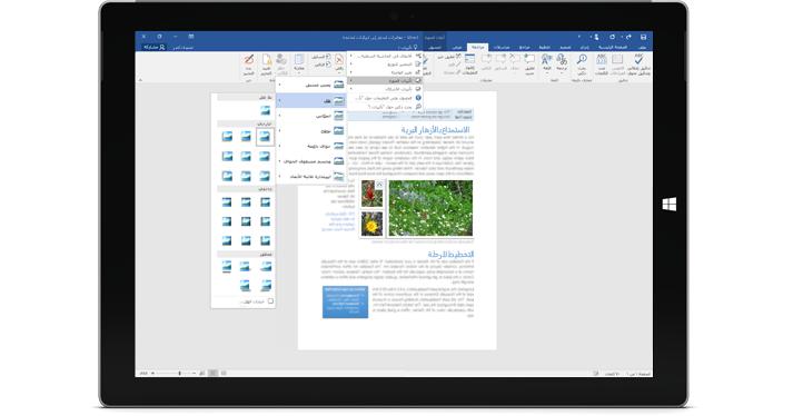 """جهاز Surface يُظهر ميزة """"أخبرني المزيد"""" الجديدة في مستند Word."""