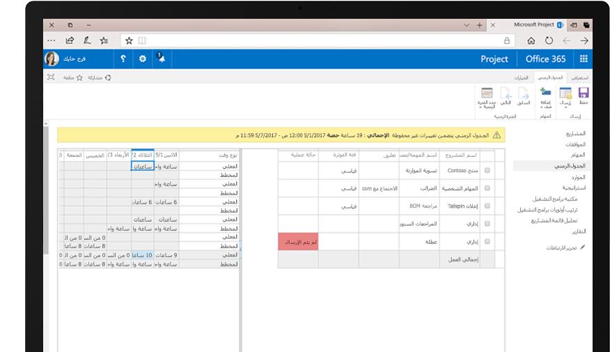 """جهاز يعرض تقرير جدول بيانات """"طلب الموارد""""، وشاشة هاتف تعرض طرق عرض التقويم لجداول المراقبة للمهام الأخرى."""