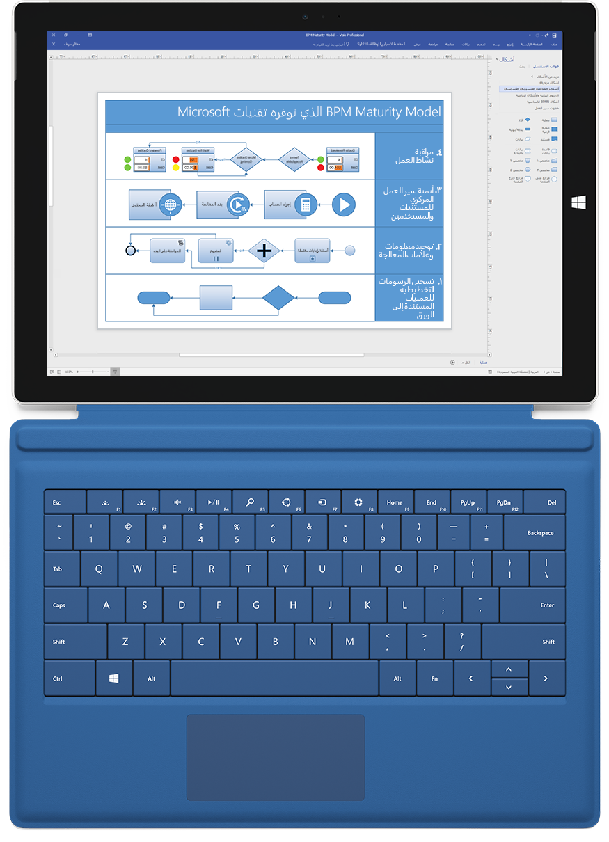 جهاز Microsoft Surface يعرض مخطط عمليات تشغيل منتج في Visio Professional