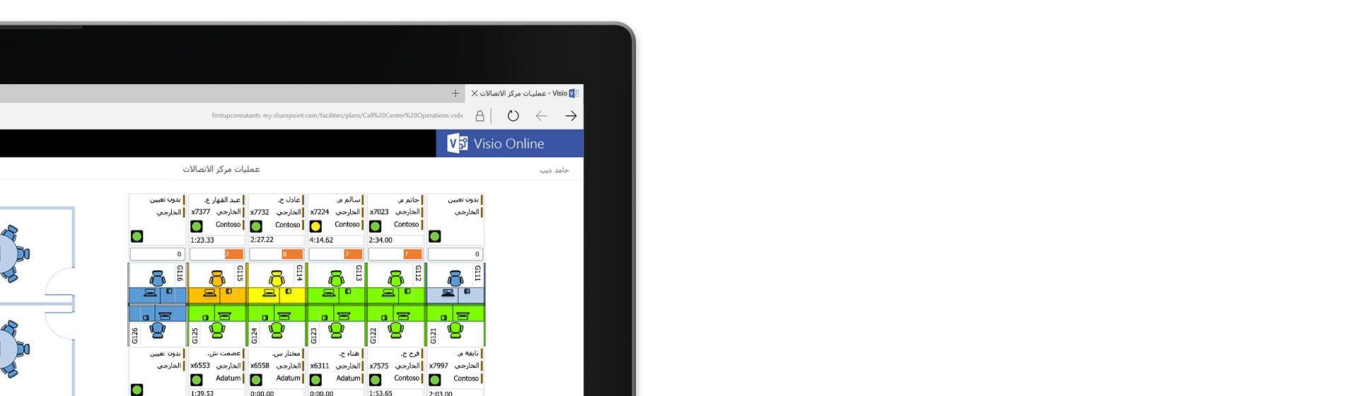 زاوية من شاشة كمبيوتر لوحي تعرض رسماً تخطيطياً لمخطط طابق مركز اتصالات في Visio