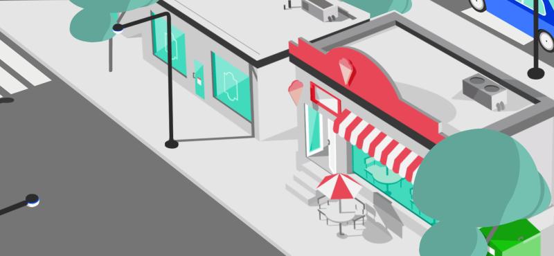 Avtomobil dondurma mağazası tərəfdən keçir