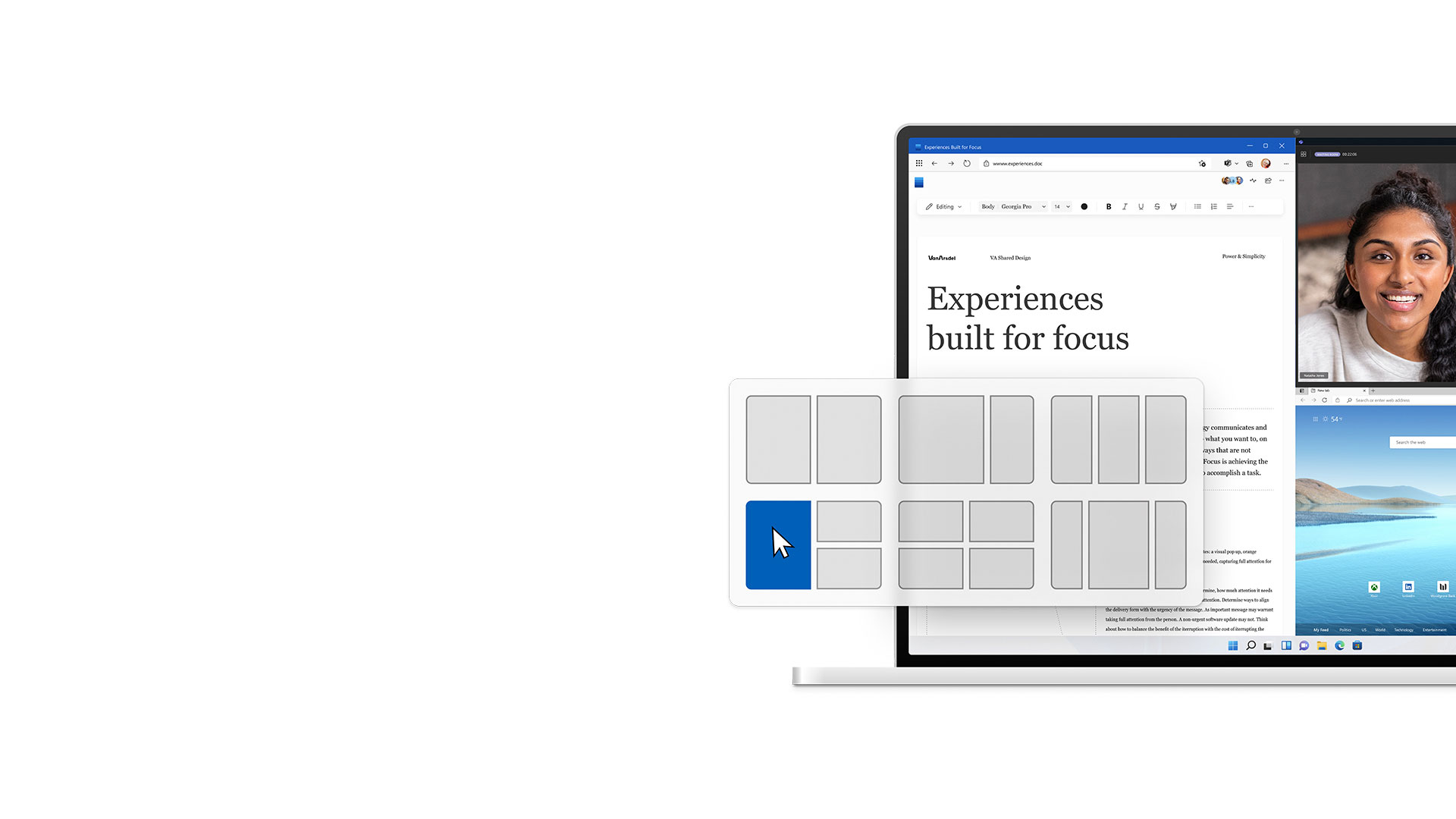 """Функция """"Прилепване"""" на Windows 11, показваща три приложения на един екран"""