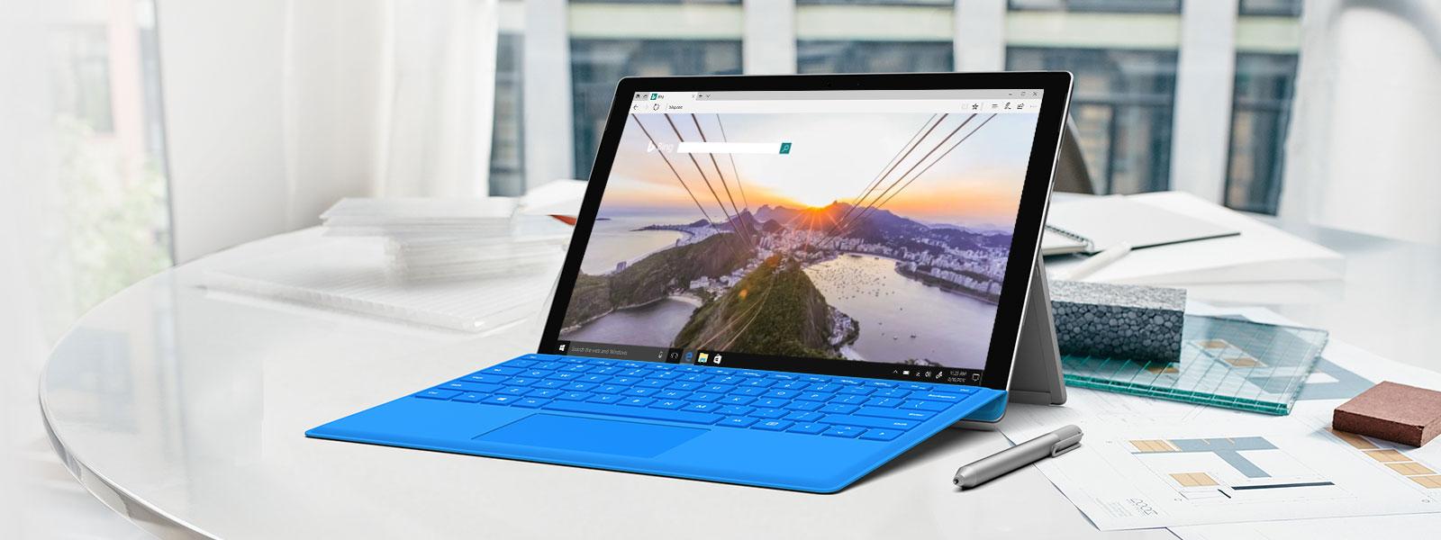 Microsoft Edge, в който е показан екранът за търсене с Bing