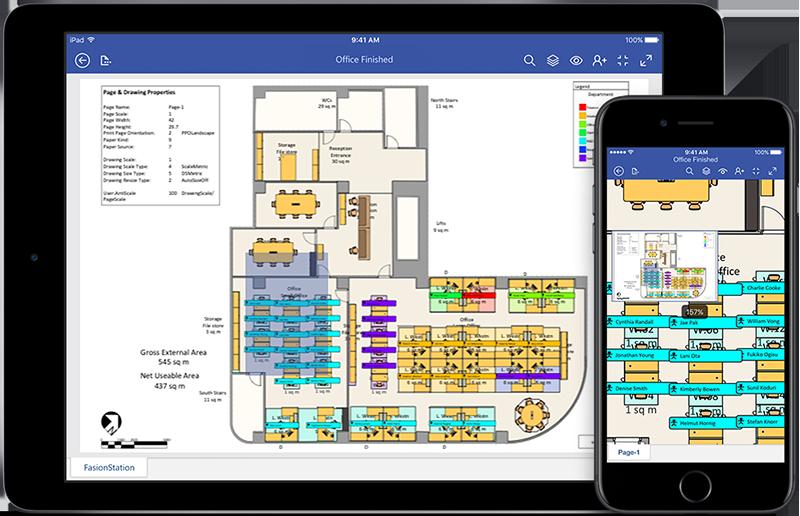 iPad и iPhone, показващи монтажна схема във Visio
