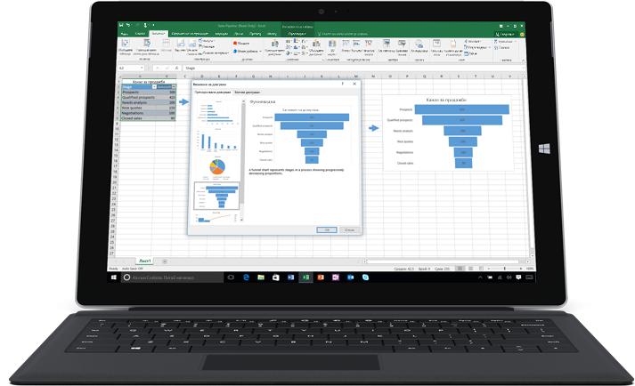 Лаптоп, показващ електронна таблица на Excel с две диаграми, илюстриращи модели на данни.