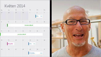 Obrazovka z videokonference se sdíleným kalendářem a obrázkem účastníka.
