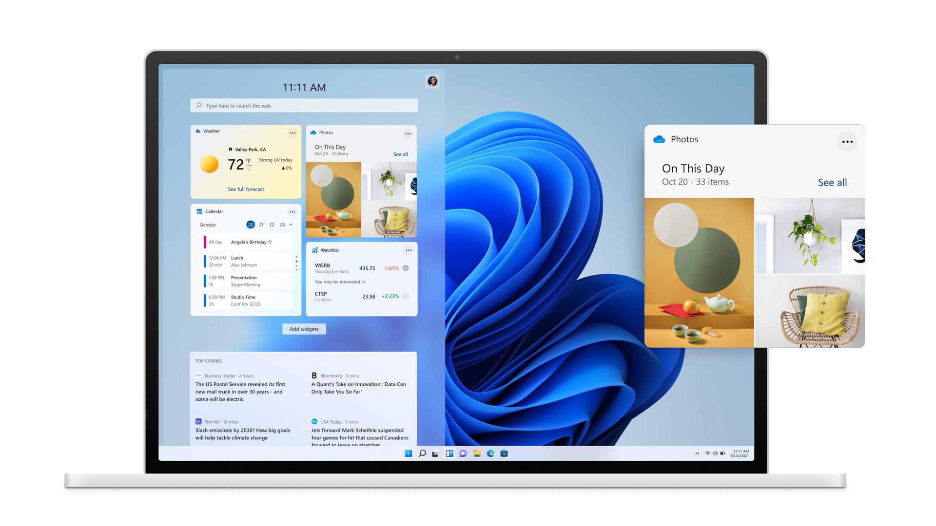 Obrazovka Windows 11 s Widgety