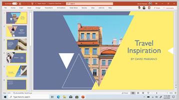 Šablona PowerPointu zobrazená na obrazovce