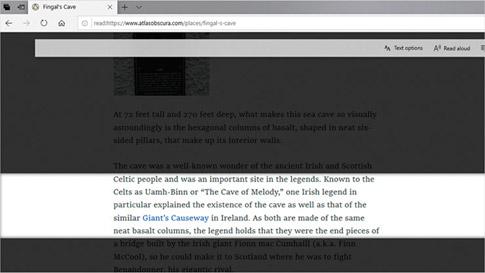 Prohlížeč Microsoft Edge zobrazující pomocí funkce Řádkový fokus pouze několik řádků textu na stránce