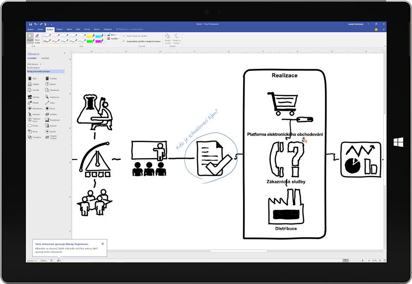 Tablet Surface zobrazující procesní diagram nakreslený ve Visiu pomocí pera