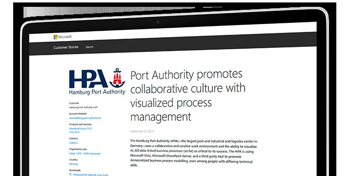 Obrazovka počítače s případovou studií o tom, jak hamburská přístavní správa (Hamburg Port Authority) vytváří prostředí pro spolupráci pomocí vizualizovaného řízení procesů