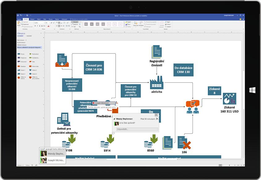 Tablet Surface zachycující spolupráci na diagramu ve Visiu s komentáři od jiných uživatelů, které jsou vidět na obrazovce