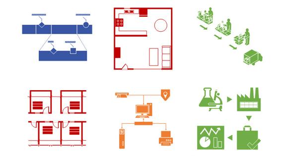 Příklady šablon ve Visiu, včetně diagramů elektrických obvodů, plánů prostorového uspořádání, toků procesů, architektury sítí a dalších