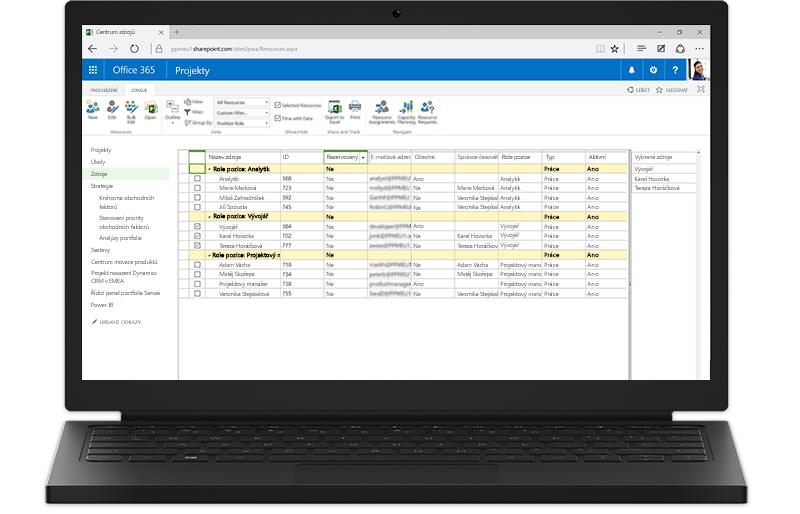 Přenosný počítač, který zobrazuje sharepointové funkce Project Serveru