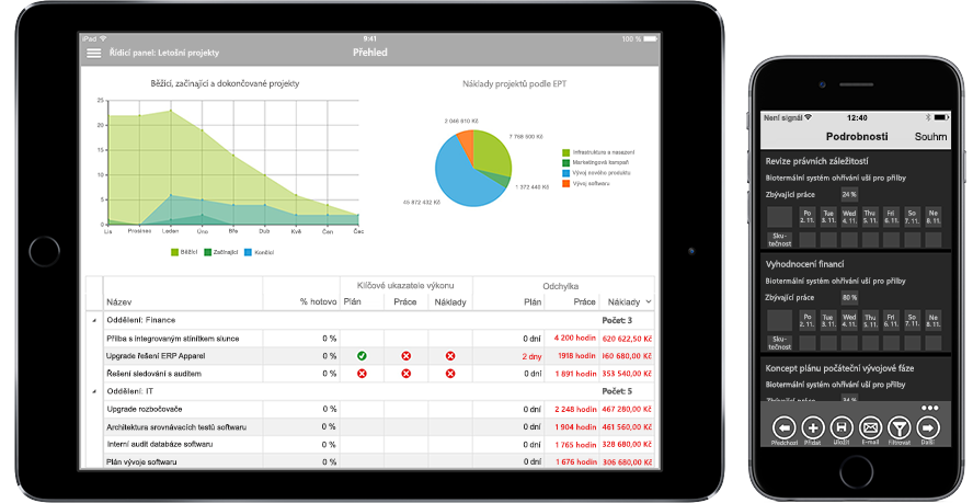 Tablet a mobilní telefon zobrazující podrobné informace o projektu v Office 365 s mobilní správou úkolů a času