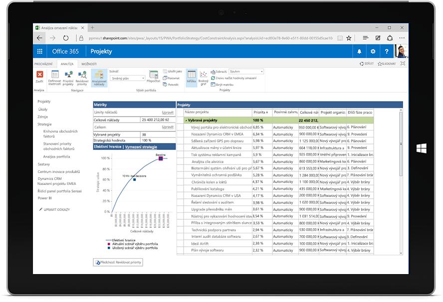 Obrazovka tabletu Microsoft Surface zobrazující seznam projektů s metrikami projektů v Microsoft Projectu