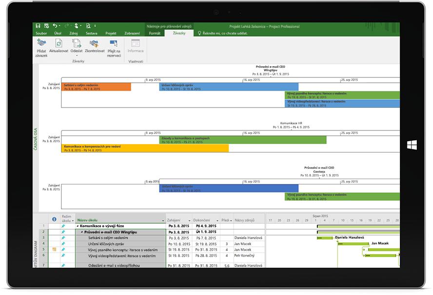 Obrazovka tabletu Microsoft Surface, na které se zobrazuje soubor Projectu s časovou osou projektu a Ganttovým diagramem v Projectu Professional