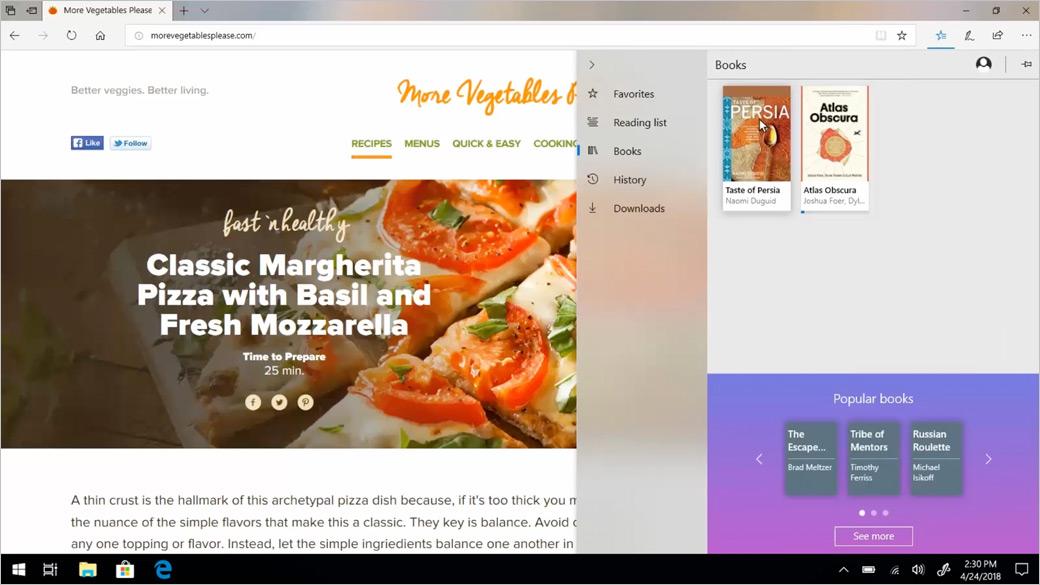 Okno prohlížeče Microsoft Edge zobrazující funkci Knihy