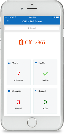Aplikace Office 365 Admin