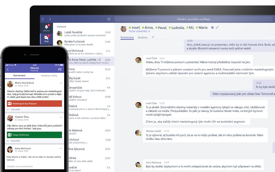 Konverzace v Teams na mobilním a desktopovém zařízení