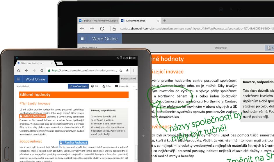 přenosný počítač a tablet s Wordem Online