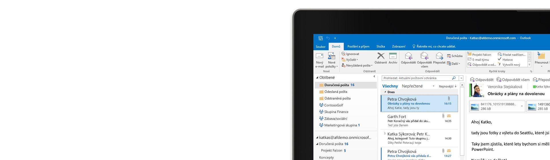 Microsoft Outlook na tabletu s otevřeným oknem náhledu zprávy