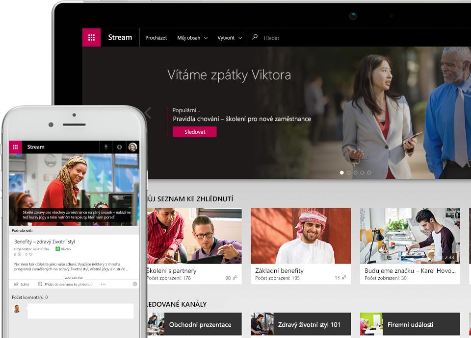 Video ve službě Stream přehrávané na smartphonu vedle zařízení, na kterém je zobrazená nabídka s ikonami videí ve Streamu