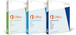 Office 2013 pro podnikatele, Office 2013 pro domácnosti, Office 2013 pro profesionály