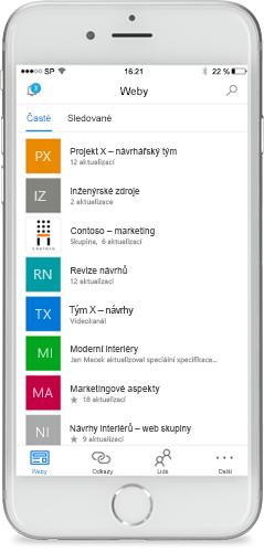 Snímek obrazovky SharePointu na mobilním zařízení.