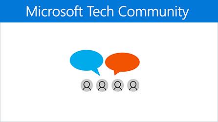 Ilustrace s odkazem pro přechod do Microsoft Tech Community pro Office 365