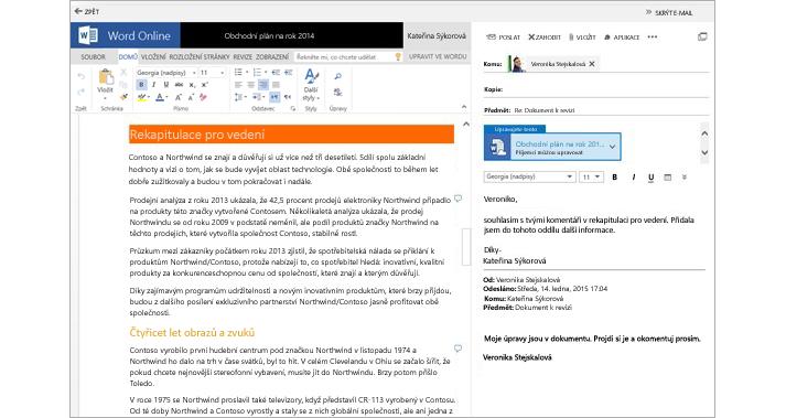 E-mailová zpráva zobrazená vedle podokna náhledu sdokumentem z přílohy pomocí Wordu Online