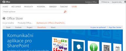 Snímek obrazovky se stránkou sharepointových aplikací v Office Storu