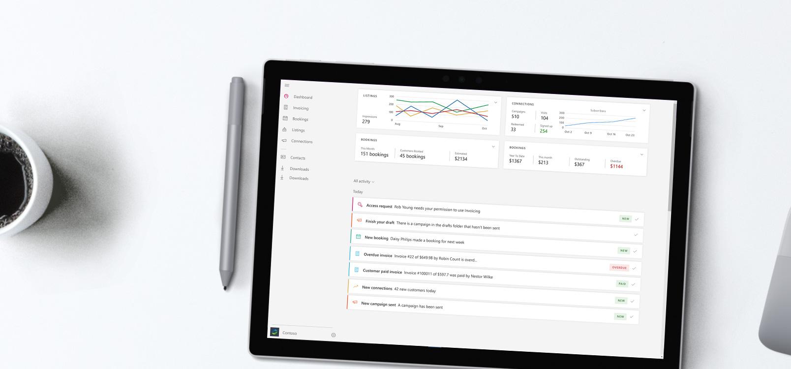 Přenosný počítač zobrazující Office 365 Business center