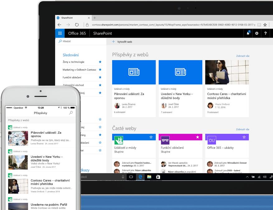 Smartphone a přenosný počítač zobrazující sharepointové novinky z intranetových webů