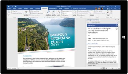 Obrazovka tabletu, která ukazuje používání zdrojů informací ve wordovém dokumentu o cestování po Evropě s batohem. Přečtěte si ovytváření dokumentů pomocí integrovaných nástrojů Office.