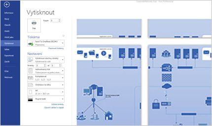 Snímek obrazovky se stránkou Tisk ve Visiu Standard 2013 s možností zobrazení náhledu diagramů